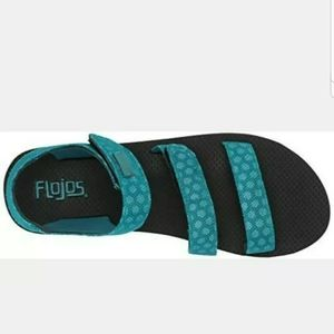 Flojos Breezy Strappy Sandals,Blue Turquoise Size6